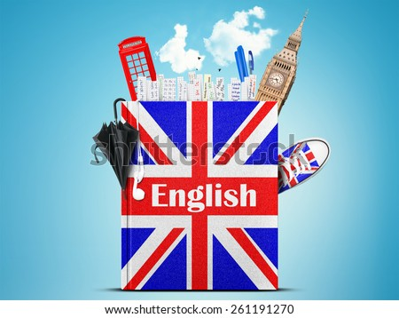 English language textbook with the British flag and umbrella - stock photo