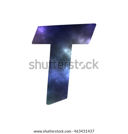 English letter 'T' filled with illustrated deep space glow with colorful gas clouds and sparkling stars isolated on white background with applicable clipping path for creative design