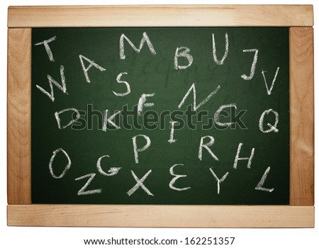 english letters handwritten on blackboard isolated on white