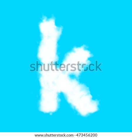 English lowercase letter from cloud on blue sky background
