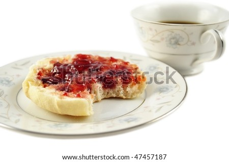 english muffin and coffee - stock photo