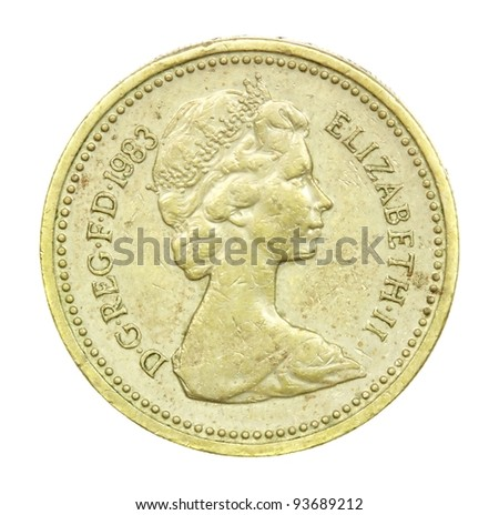 English one pound coin of 1983 - stock photo