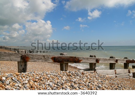 english pebble beach on the sussex coast in summer
