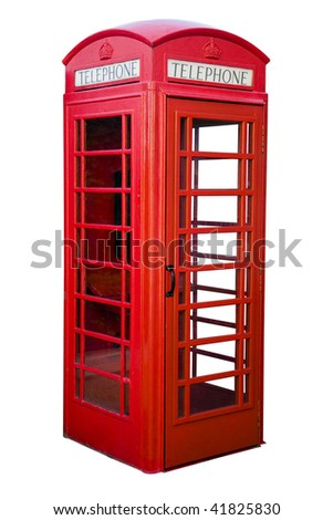 English red phone box isolated on white