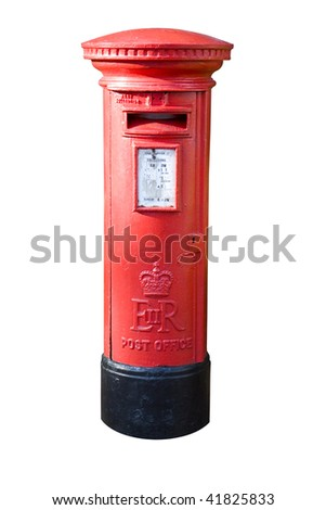 english red post box isolated on white
