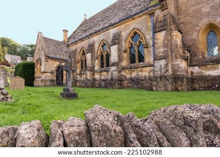 English Rural Church and Graveyard - stock photo