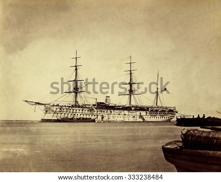 English ship. 1870s. Expedition to Siam through the new Suez Canal - stock photo