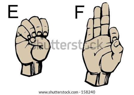 English Sign Language Letters E and F