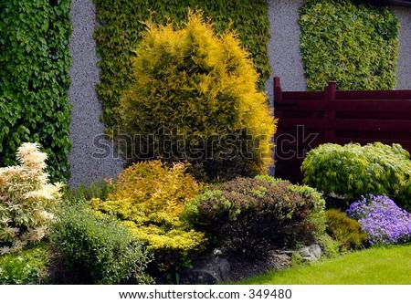 English spring garden - stock photo