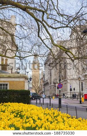 English street, and overlooking big Ben - stock photo