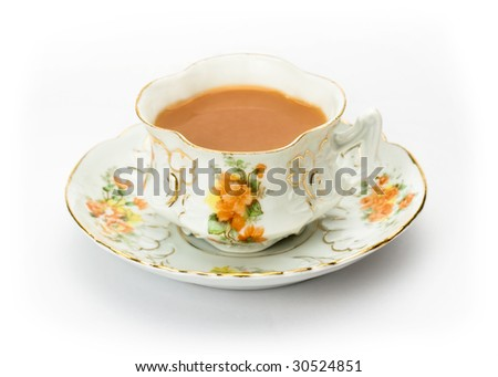 English tea served in an ornate china cup