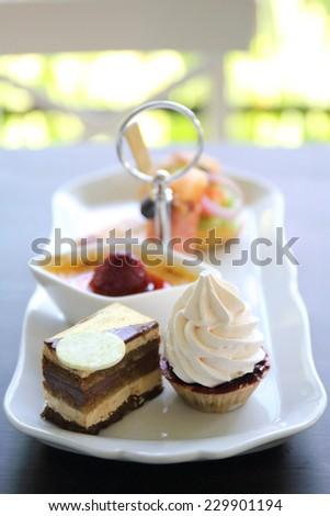 english tea set cake - stock photo