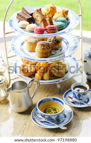 English tea setting with  Macaroon and bread