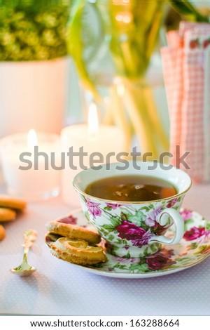 English tea with cookies - stock photo
