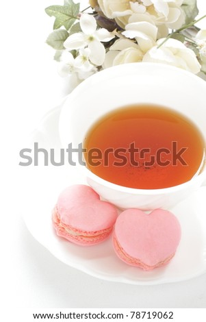 English tea with heart shaped macaroon