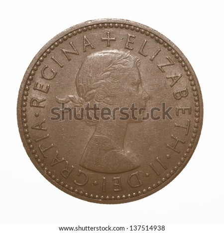 English three lions passant coat of arms 1966 Elizabeth II One Shilling Coin - stock photo