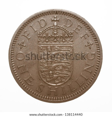 English three lions passant coat of arms 1956 Elizabeth II One Shilling Coin - stock photo