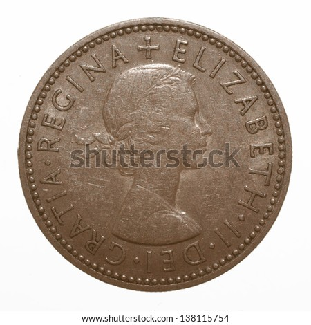 English three lions passant coat of arms 1954 Elizabeth II One Shilling Coin - stock photo