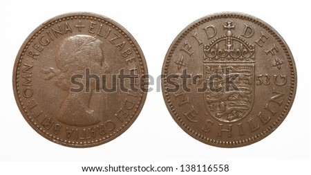 English three lions passant coat of arms 1953 Elizabeth II One Shilling Coin - stock photo