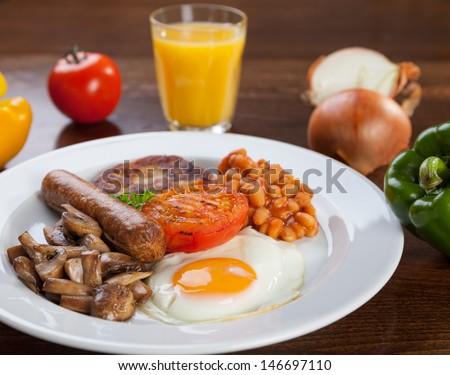 English vegetarian breakfast meal - stock photo