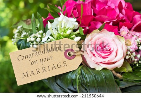 english Wedding  Card with pink flowers/Congratulations on your marriage/english - stock photo