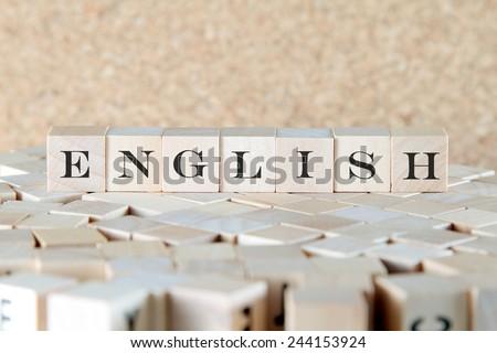 english word on wood blocks - stock photo