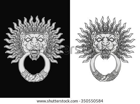 Engraved lion head door knocker. Hand drawn illustration isolated