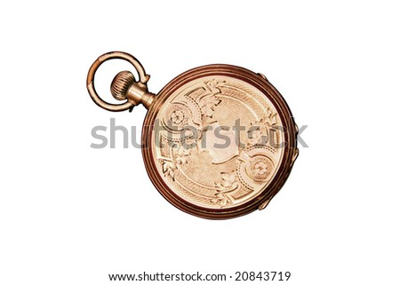 Engraved ornate vintage Swiss pocket watch, isolated on white - stock photo