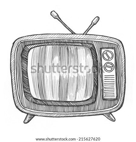 Engraving style hatching pen pencil painting illustration retro vintage old-fashioned television tv set antenna device image. Engrave hatch lithography drawing collection. - stock photo