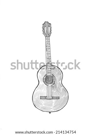 Engraving style pen pencil crosshatch hatching paper painting string guitar classic musical instrument. Engrave design big conceptual collection