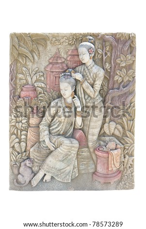 Engraving two lady on stone wall - isolated - stock photo