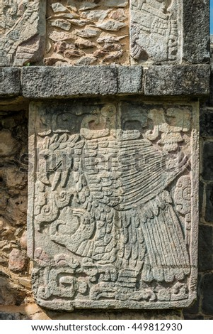 Engravings such as this eagle cover the Mayan ruins of Chichen Itza in Mexico.