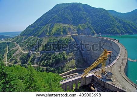 Enguri dam, hydro power plant - stock photo
