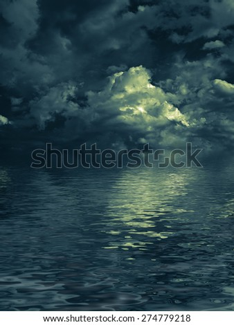 enigmatic nightly clouds over the water - stock photo