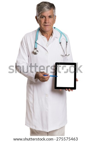 enior doctor using his tablet computer in white background