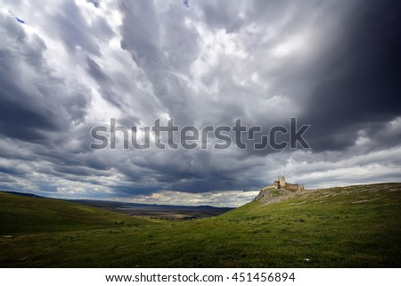 Enisala fortress on cloudy day,  Dobrogea, Romania