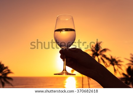 Enjoy a glass of wine by the sea.  - stock photo