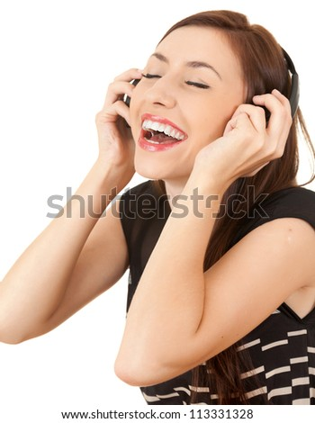 enjoy music girl in headphones, white background - stock photo
