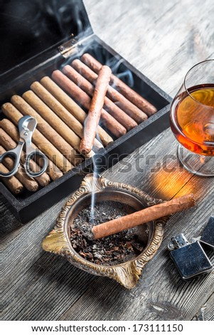 Enjoy the evening with a cigar and cognac - stock photo