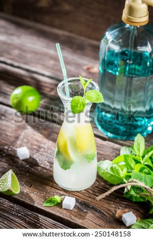 Enjoy your cold  and fresh lemonade - stock photo