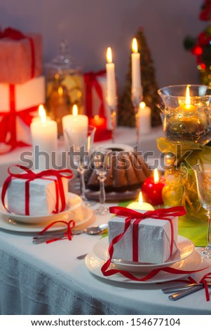 Enjoy your meal with family at Christmas table