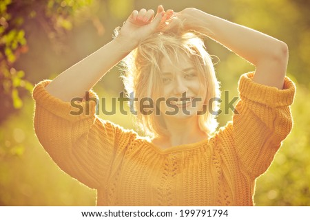 Enjoying a sunset summer evening outdoors - stock photo