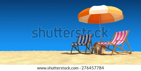 Enjoying The Beach - stock photo