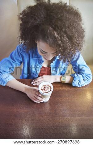Enjoying the fresh ground coffee - stock photo