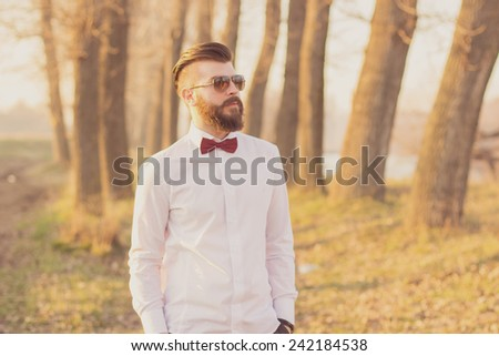 Enjoying the nature with a view of the sunset - stock photo