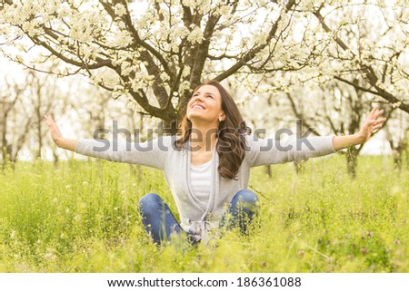 Enjoying the sun . - stock photo