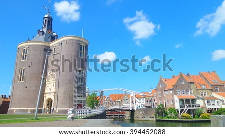 Enkhuizen Holland the Netherland small village great sky - stock photo
