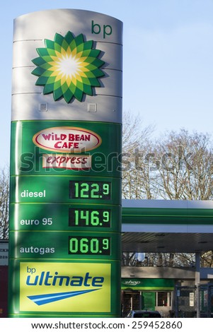 ENKHUIZEN, THE NETHERLANDS - 4 FEBRUARY 2015: BP gas station prices Oil based fuel prices have recently dropped, .on february 4 ,2015 , in Bovenkarspel, the netherlands.  - stock photo