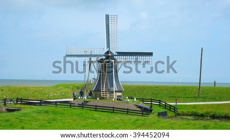 Enkhuizen Windmill Holland Watermill  - stock photo