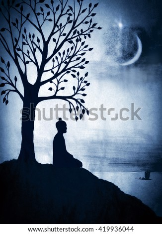 Enlightenment of the Buddha under the Bodhi tree - stock photo